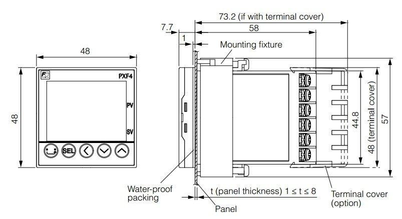 Disegno dimensioni esterne del Fuji PXF4