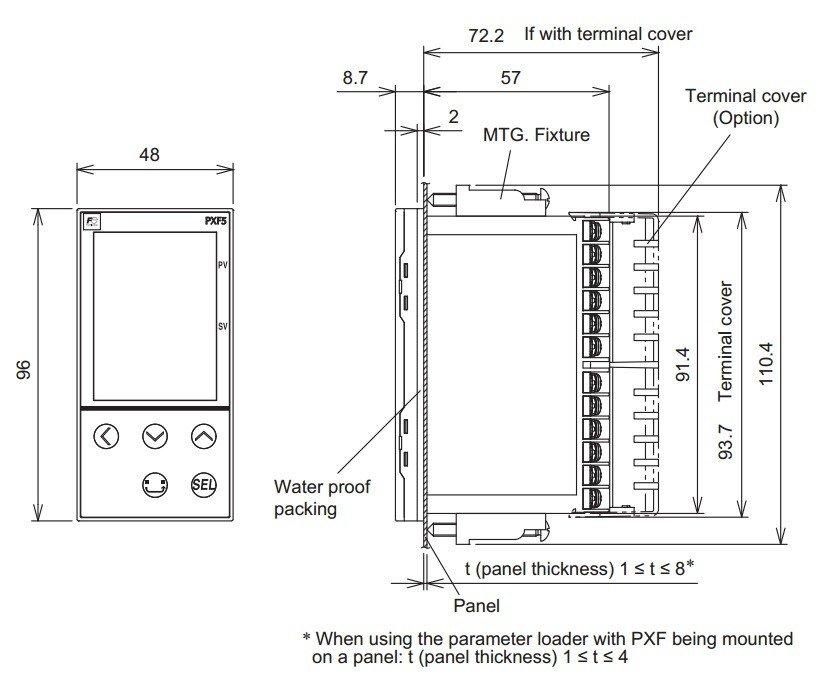 Disegno dimensioni esterne del Fuji PXF5