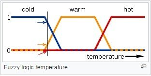 In questa immagine, i significati delle espressioni freddo, caldo e molto caldo sono rappresentate da funzioni che mappano una scala di temperatura. Un punto su quella scala ha tre valori di verità, uno per ciascuna delle tre funzioni. La linea verticale nell'immagine rappresenta una temperatura particolare che le tre frecce (valori di verità) misurano. Poiché la freccia rossa punta a zero, questa temperatura può essere interpretata come non calda. La freccia arancione (indicata a 0.2) si può descrivere come leggermente calda e la freccia blu (puntando a 0.8) come abbastanza fredda. Questo tipo di funzione è possibile trovarla nei termoregolatori di ultima generazione